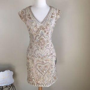 *NWT Sue Wong/ Beige Embellished Beaded Dress Sz 8